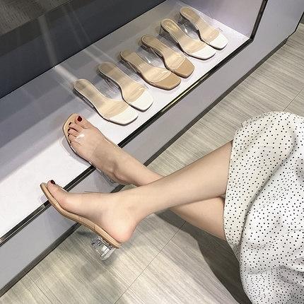 透明涼鞋女平底夏季百搭時裝水晶中跟粗跟涼拖鞋