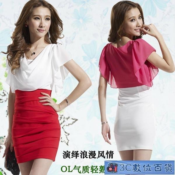 夜店洋裝 胖MM女裝2020夏季新款韓版氣質顯瘦雪紡拼接包臀裙性感短裙 3C數位百貨