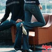 BOBSON 女款磨力美人爪釘伸縮小喇叭牛仔褲(9016-55)