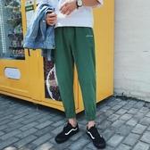褲子男士休閒褲束腳九分褲春季韓版流個性男褲窄管褲寬鬆運動褲 【快速出貨】