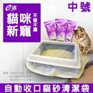 貓砂袋(中)-e潔收口式貓砂袋 居家 貓砂 自動 手提式 家用 抽繩 廚房 塑膠袋 拉伸垃圾袋