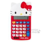 〔小禮堂〕Hello Kitty 造型計算機《紅.大臉.大臉按鍵》12位元 4901610-83843