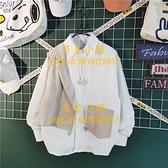 日系拼接假兩件長袖襯衫男潮流小眾設計感襯衣外套【繁星小鎮】