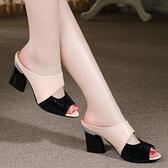 魚口鞋 足意爾康涼鞋女拖鞋夏外穿2021新款真皮高跟粗跟魚嘴休閒女涼鞋潮  美物 99免運