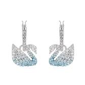 SWAROVSKI 施華洛世奇 璀璨漸層水晶天鵝造型銀色耳環 5512577