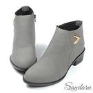 短靴 霧感金飾拉鍊尖頭低跟短靴-灰