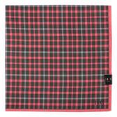 DAKS經典英倫格紋100%純棉帕領巾(深紅色)989163-20