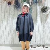 【Tiara Tiara】拼接風素面壓摺長袖洋裝(深藍)
