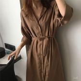 *初心*韓系 純色 寬鬆 翻領 開襟 襯衫 風衣外套 洋裝 長版襯衫 D6788