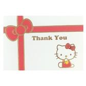 小禮堂 Hello Kitty 橫式燙金感恩卡片 祝賀卡 送禮卡 節慶卡 (紅白 緞帶) 4711717-22706