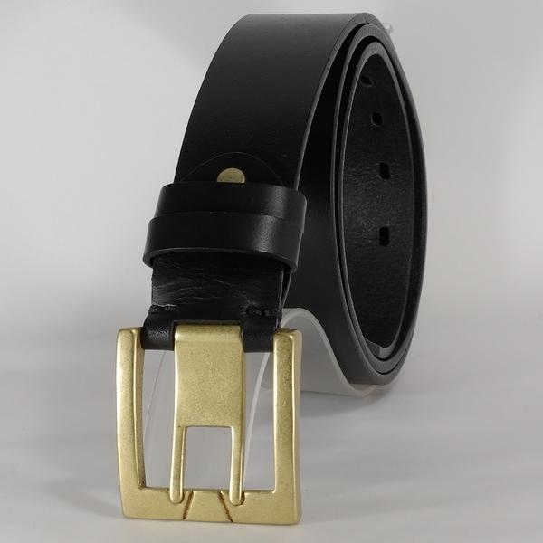皮帶 100%真皮 皮革時尚腰帶 銅扣 針扣 寛版 黑 S尺寸 -Mark Honor-免費烙印服務
