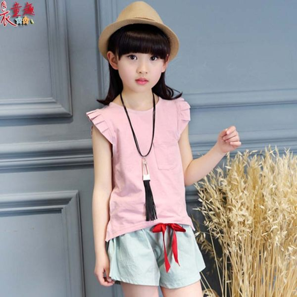 衣童趣 ♥韓版女童 新款時尚短袖棉麻兩件式套裝 休閒百搭圓領上衣+短褲 套裝