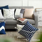 北歐幾何現代簡約黑白抱枕午睡枕 條紋格子沙發靠枕       瑪奇哈朵