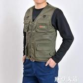 中老年人男士馬甲外穿釣魚春夏薄款多口袋坎肩攝影背心爸爸裝馬夾『摩登大道』
