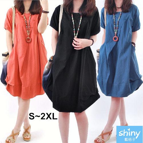 【V2302】shiny藍格子-韓范輕盈.純色圓領寬鬆褶皺連身裙