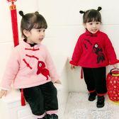 拜年服 過年喜慶寶寶裝女童新年裝拜年服兒童漢服女寶寶唐裝冬季周歲禮服 童趣屋