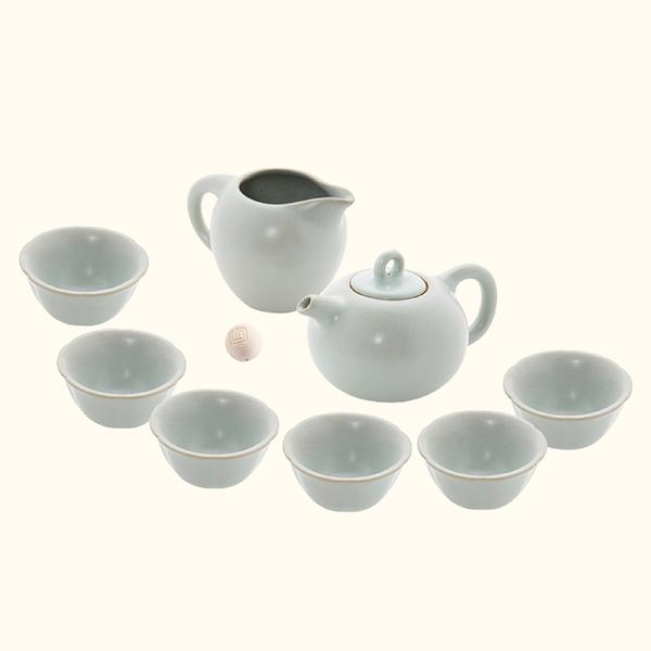 陸寶【汝窯藏器 】錦珠壺/圓珠壺 茶組 一壺一海六杯