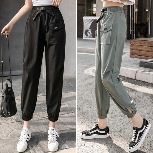 休閒褲 運動褲女寬鬆束腳夏季薄款2020新款學生工裝褲顯瘦百搭高腰休閒褲