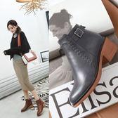 丁果、大尺碼女鞋34-43►韓版明星款厚底中跟短靴*3色