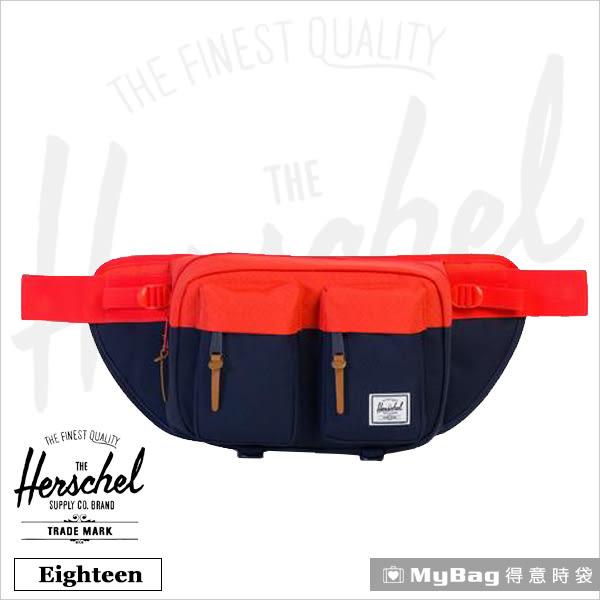 Herschel 腰包  藍紅色  單肩雙口袋側背包 Eighteen-1468 MyBag得意時袋
