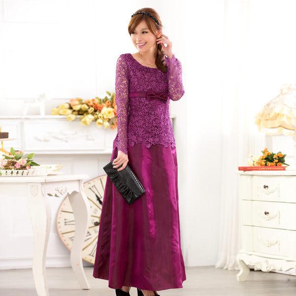 主持服飾長袖禮服蕾絲鏤空長款晚禮服  ~美之札