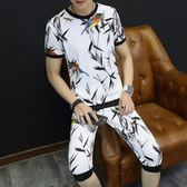 男士短袖新款T恤韓版個性潮流帥氣學生夏季運動休閒兩件套 DN8847【野之旅】