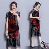 大尺碼洋裝歐洲站短袖圓領顯瘦遮肚中長款真絲印花連身裙 618降價