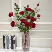 5頭高品質仿真玫瑰花落地假花客廳擺放花卉絹花仿真花束裝飾花