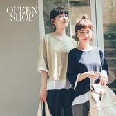 Queen Shop【01037434】拼接襯衫假兩件圓領棉T 兩色售*預購*