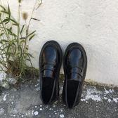 英倫風女鞋黑色小皮鞋簡約百搭平底單鞋小皮鞋女夏季新款樂福鞋女 【PINK Q】