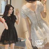 蕾絲洋裝 中長款網紗鉤花正韓 短袖 艾米潮品館