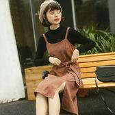 两件式洋装连身裙 早秋冬新款女裝韓版小清新修身顯瘦純色T恤+吊帶連身裙女