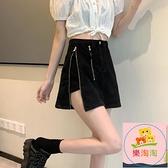 褲裙 黑色牛仔半身裙女夏季辣妹短裙高腰a字裙設計感開叉裙子涼感【樂淘淘】