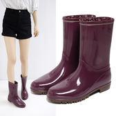 雨牧高分子環保材質雨靴防滑水鞋輕便水靴平跟膠鞋加絨中筒女雨鞋【全館89折低價促銷】