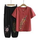 棉麻兩件套 中年媽媽夏裝兩件套棉麻套裝時尚洋氣減齡繡花盤扣短袖T恤女40歲