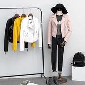 皮衣外套-立領純色斜拉鍊短款女夾克4色73on23【巴黎精品】