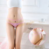 內褲 氣質典雅寶石蕾絲丁字褲(粉)【耶誕慶典】