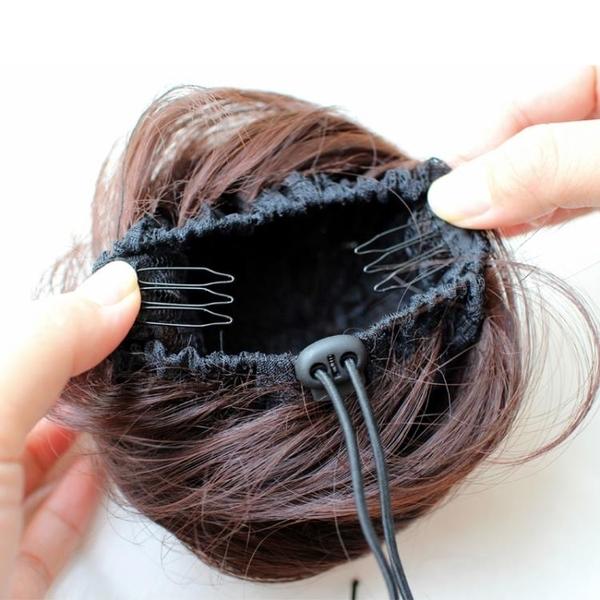 假髮髮包真髮盤髮器網紅頭飾扎半丸子頭髮圈女髮飾花苞頭花假髮髻