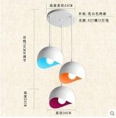 北歐美式酒吧臺燈具餐廳吊燈三頭創意個性複古工業風鐵藝餐吊燈飾(三頭彩虹圓盤)