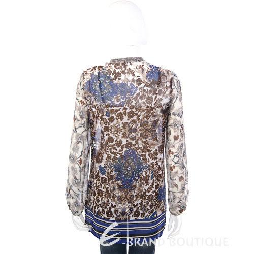 MARELLA 咖啡/藍色印花紗質長袖上衣 1240294-07