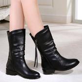 秋冬新款平底女短靴低跟中筒女皮靴單靴馬丁靴時尚大碼女靴子