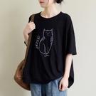 中大尺碼T恤 大碼女裝文藝寬鬆短袖T恤夏季新款明線刺繡小貓百搭休閒上衣顯瘦