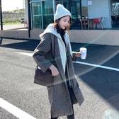 2019秋冬季流行毛呢外套女大衣中長款人字紋呢子大衣氣質冬裝加厚