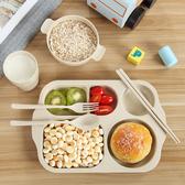 日式創意小麥秸稈餐具兒童餐盤套裝寶寶防摔家用卡通分格盤快餐盤 聖誕裝飾8折