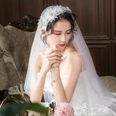 新款髪箍旅拍珍珠民國復古新娘結婚頭紗素紗短款婚紗拍照道具 晴天時尚館
