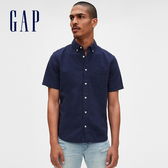 Gap男裝輕盈質感純色短袖襯衫573736-海軍淺藍