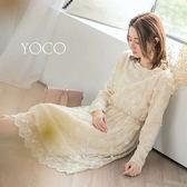東京著衣【YOCO】輕熟美學一字領滿版蕾絲洋裝-S.M.L(172418)