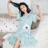 涼感睡裙女夏季可愛韓版清新公主甜美學生短袖睡衣夏天長款連衣裙睡裙【非凡】