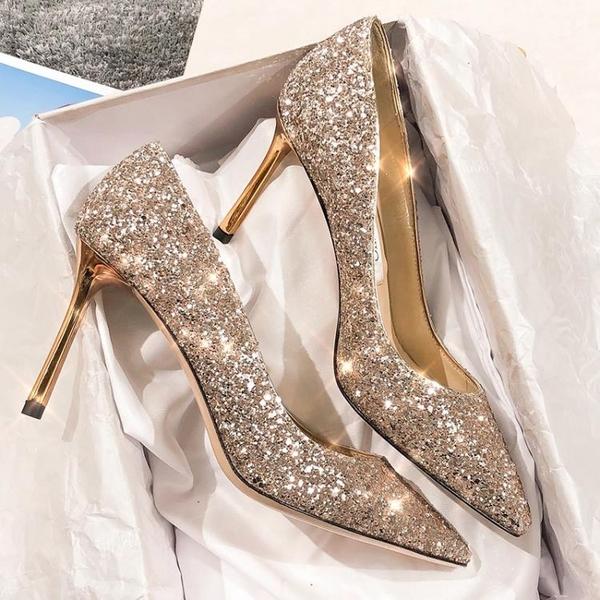 高跟鞋婚鞋女水晶新娘鞋春季銀色尖頭性感法式少女高跟鞋女細跟新年禮物