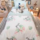 小斑馬小紅鶴 Q3雙人加大床包雙人兩用被四件組 100%復古純棉 極日風 台灣製造 棉床本舖